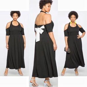 Eloquii Cold Shoulder Black Dress